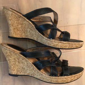 Born black leather cork wedge slide sandals 39 / 8